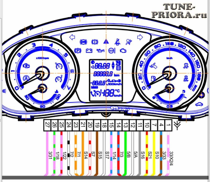 Распиновка контактов штатной комбинации приборов приоры (priora)
